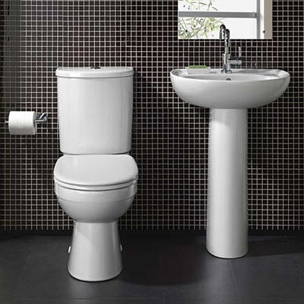 Twyford Galerie Basin & Full Pedestal 550mm Wide 1 Tap Hole-0