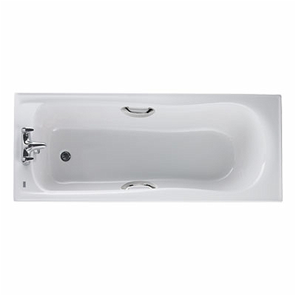Twyford Galerie Single Ended Rectangular Bath with Grips 1700mm x 700mm 2 Tap Hole