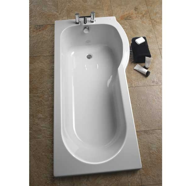 Twyford Galerie Optimise Right Handed Offset Shower Bath 1700mm x 750mm/850mm 2 Tap Hole