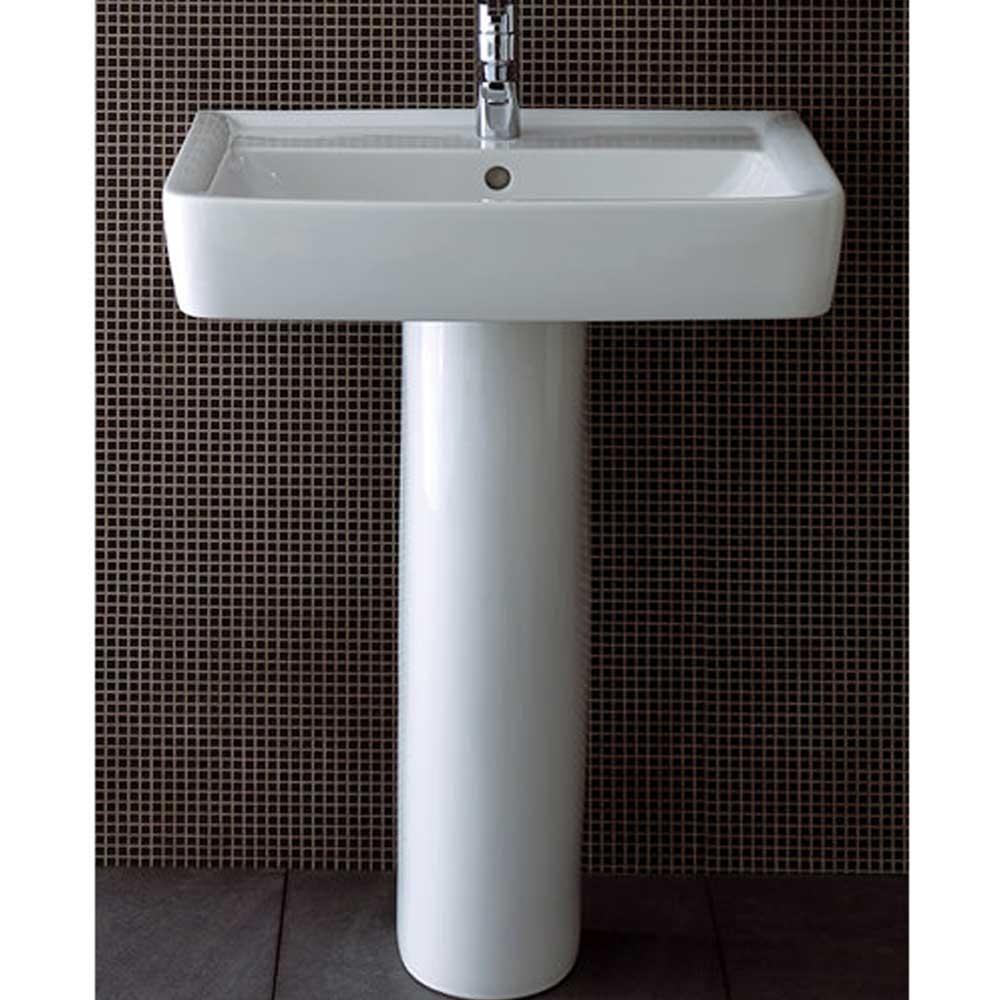 Twyford Galerie Plan Washbasin & Full Pedestal 550mm Wide 1 Tap Hole