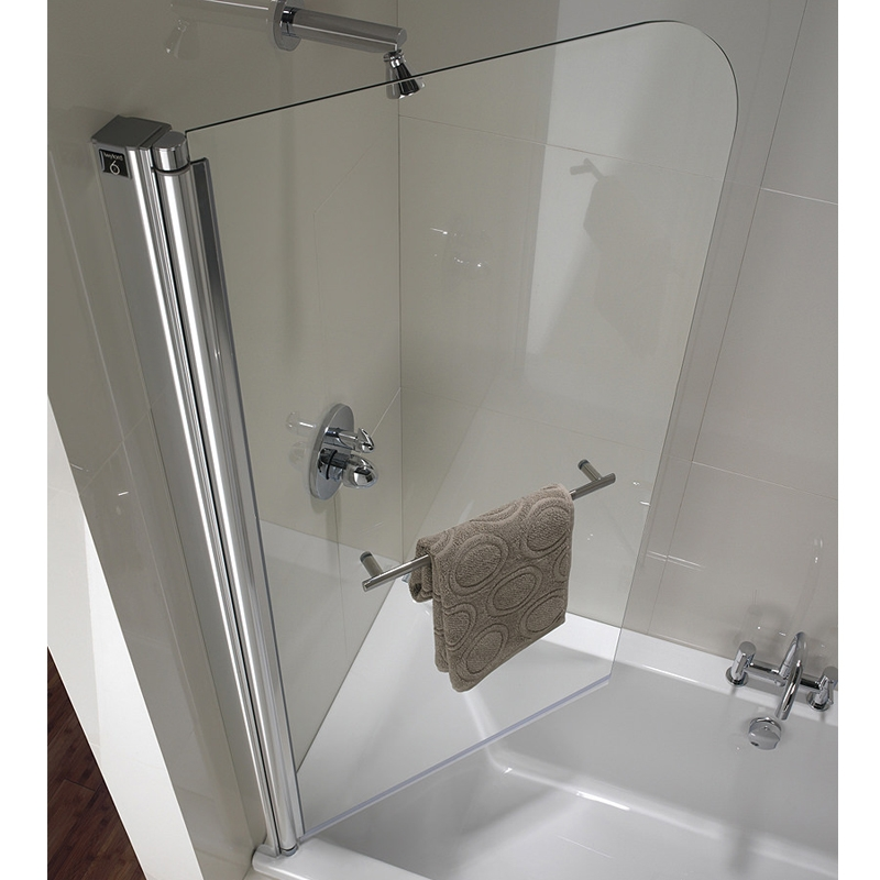 Twyford Geo6 Single Panel Curved Bath Screen 1500mm H x 850mm W - Polished Silver Left Hand