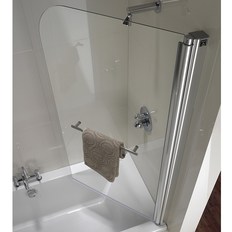 Twyford Geo6 Single Panel Curved Bath Screen 1500mm H x 850mm W - Polished Silver Right Hand