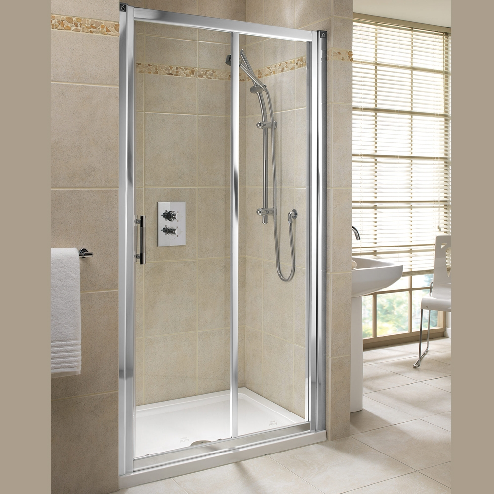 Twyford Geo6 Sliding Shower Door 1100mm Wide - Polished Silver-0