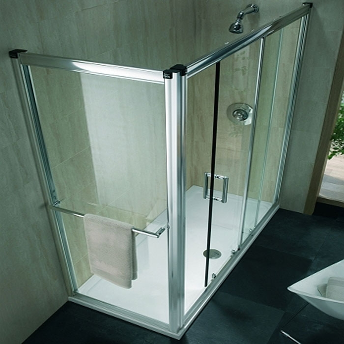 Twyford Hydr8 Sliding Shower Door 1700mm Wide - Polished Silver