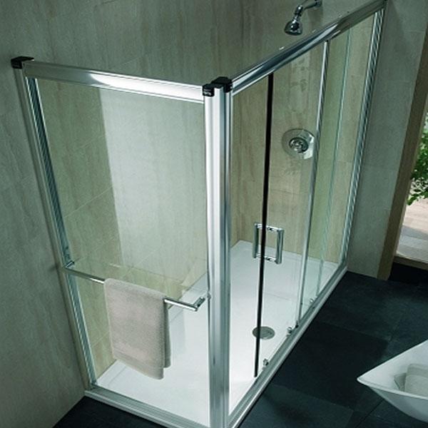 Twyford Hydr8 Sliding Shower Door 1500mm Wide - Polished Silver