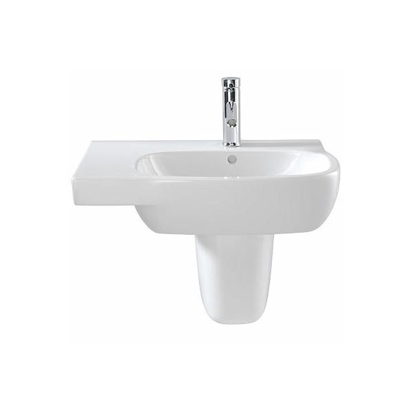 Twyford Moda Offset Basin & Semi Pedestal Left Hand Shelf 650mm Wide 1 Tap Hole