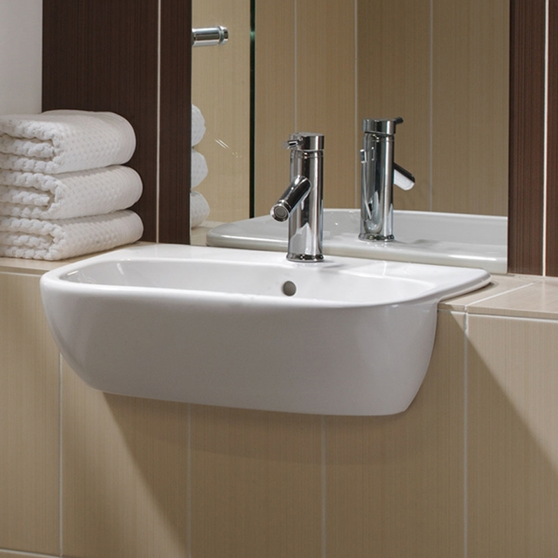 Twyford Moda Semi-Recessed Washbasin 550mm Wide - 1 Tap Hole