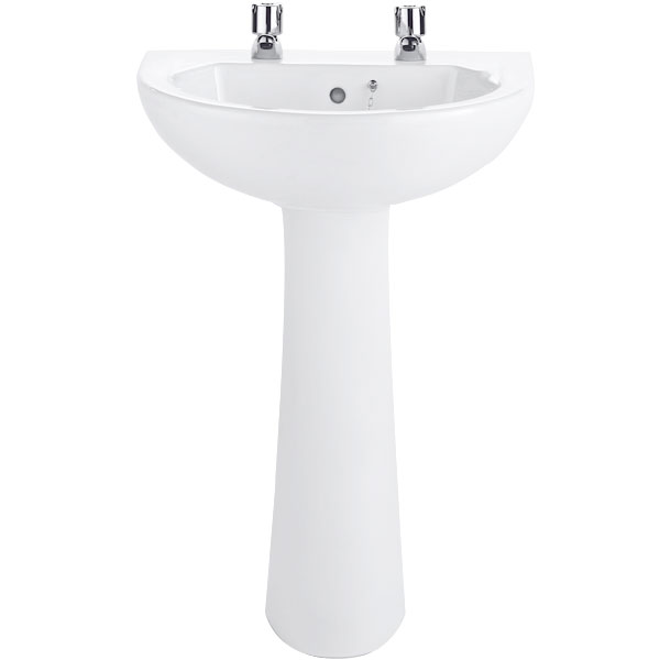 Twyford Option Basin & Full Pedestal 550mm Wide 2 Tap Hole
