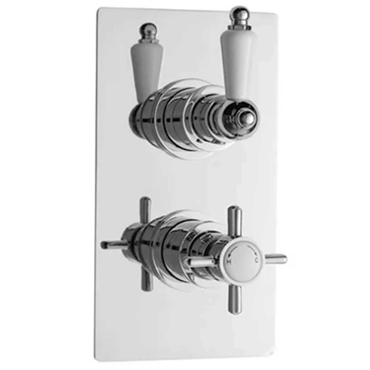 Premier Beaumont Twin Shower Valve Rectangular Plate with Fixed Head and Arm