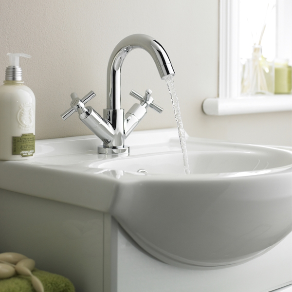 Ultra Series 1 Swivel Spout Mini Mono Basin Mixer Tap Dual Handle with Pop-Up Waste - Chrome