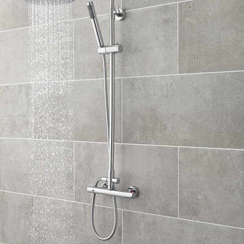 Premier Slimline Thermostatic Bar Shower Valve Dual Handle - Chrome