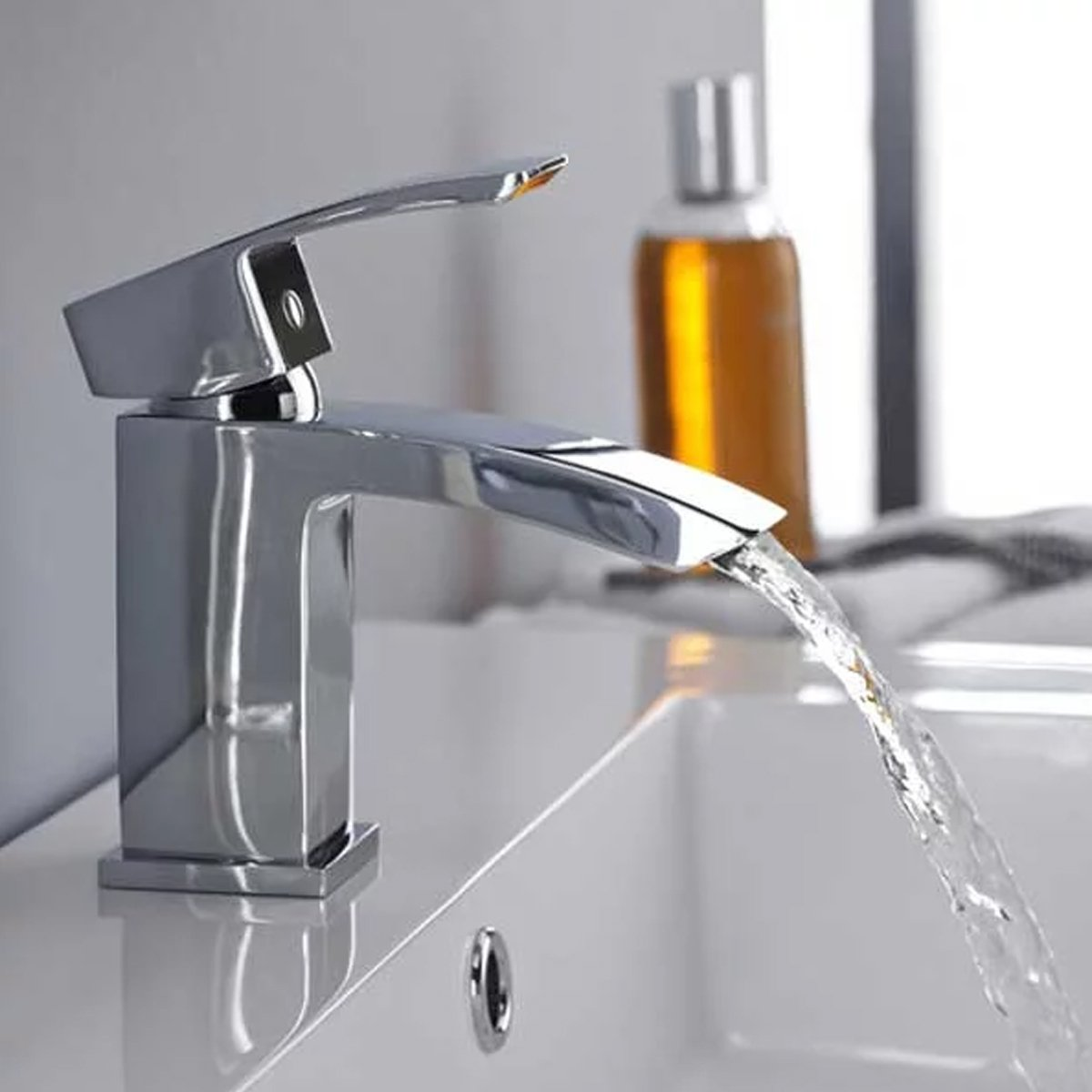 Ultra Vibe Mono Basin Mixer Tap and Bath Filler Tap Pillar Mounted, Chrome