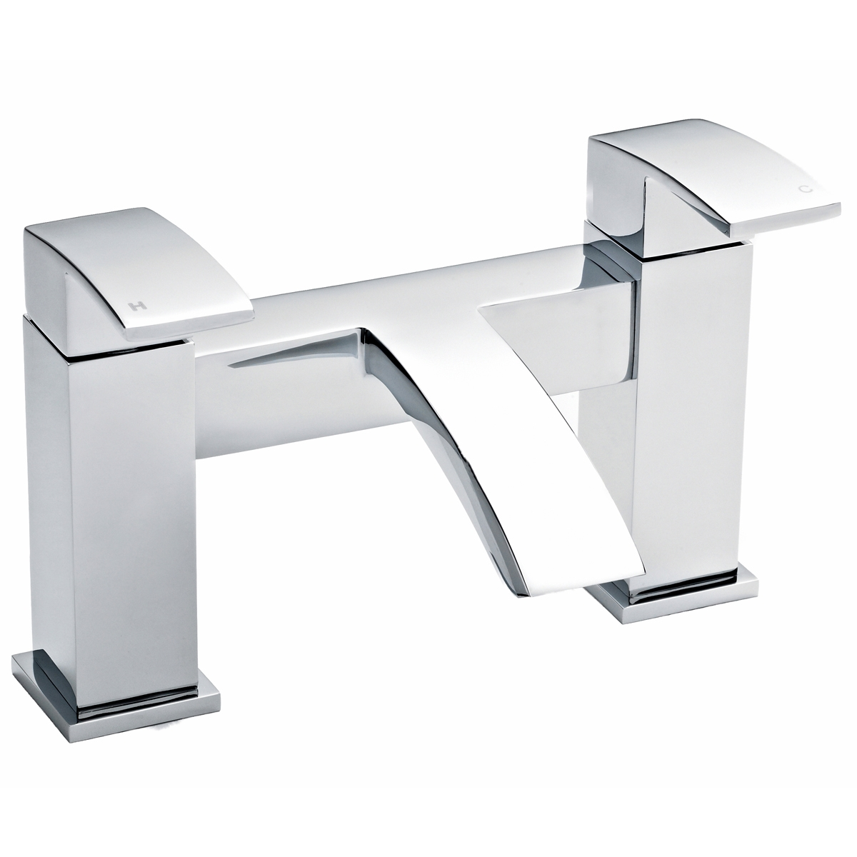 Ultra Vibe Mono Basin Mixer Tap and Bath Filler Tap Pillar Mounted, Chrome-2