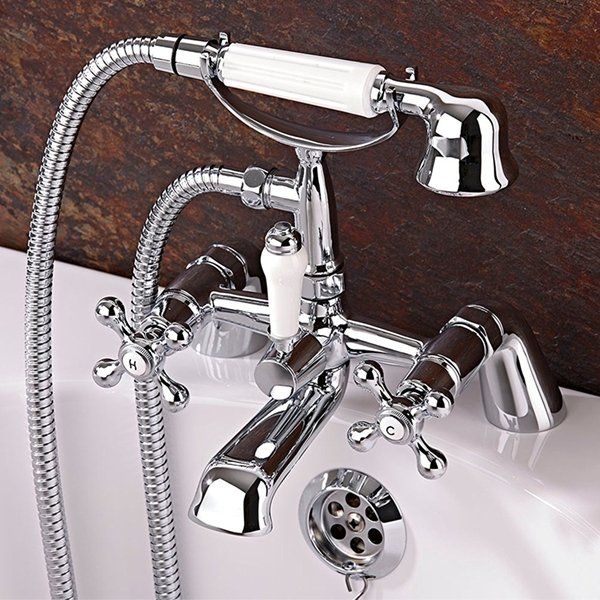 Ultra Viscount Large Handset Bath Shower Mixer Tap Pillar Mounted - Chrome