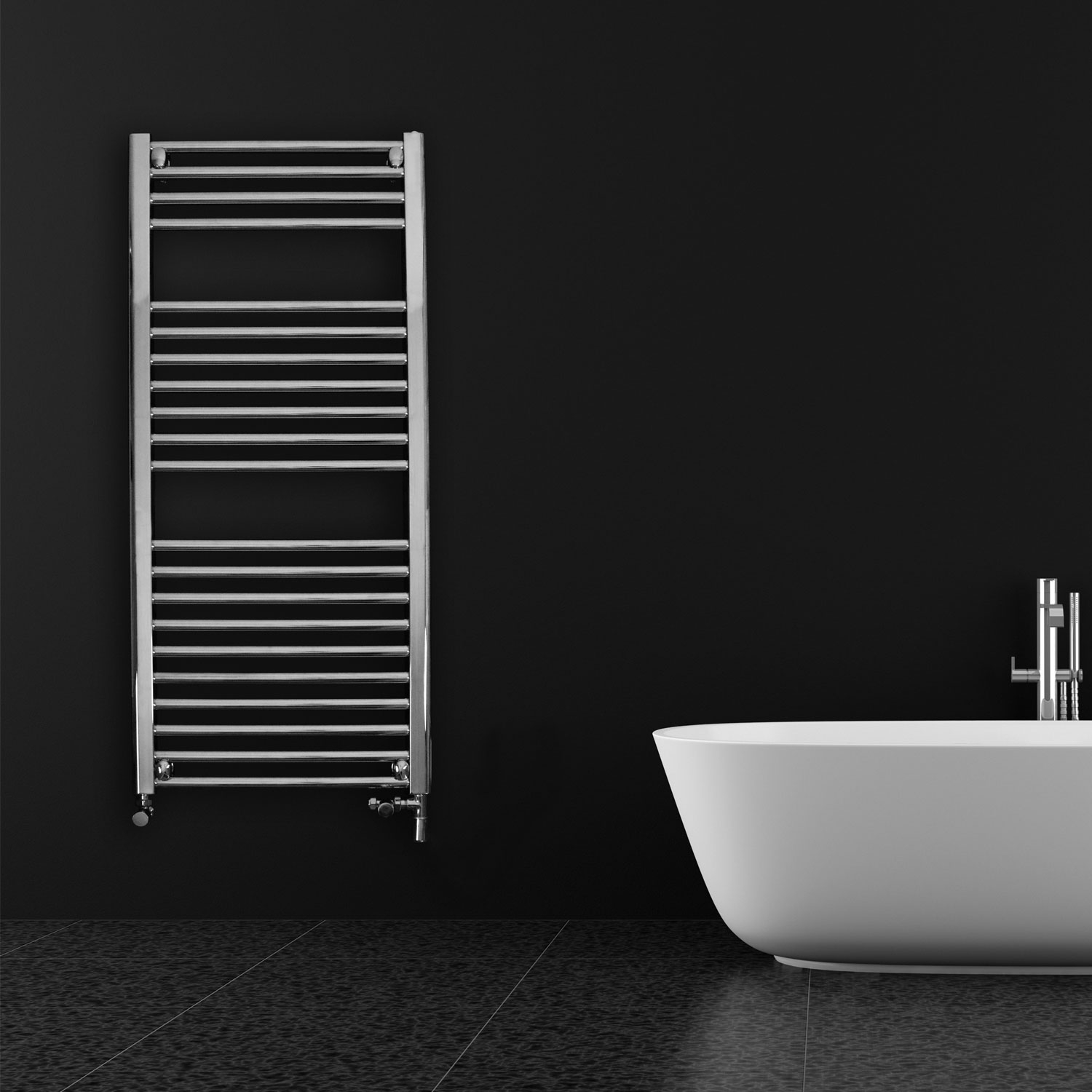 Ultraheat Chelmsford Straight Heated Towel Rail 1195mm H x 310mm W - Chrome