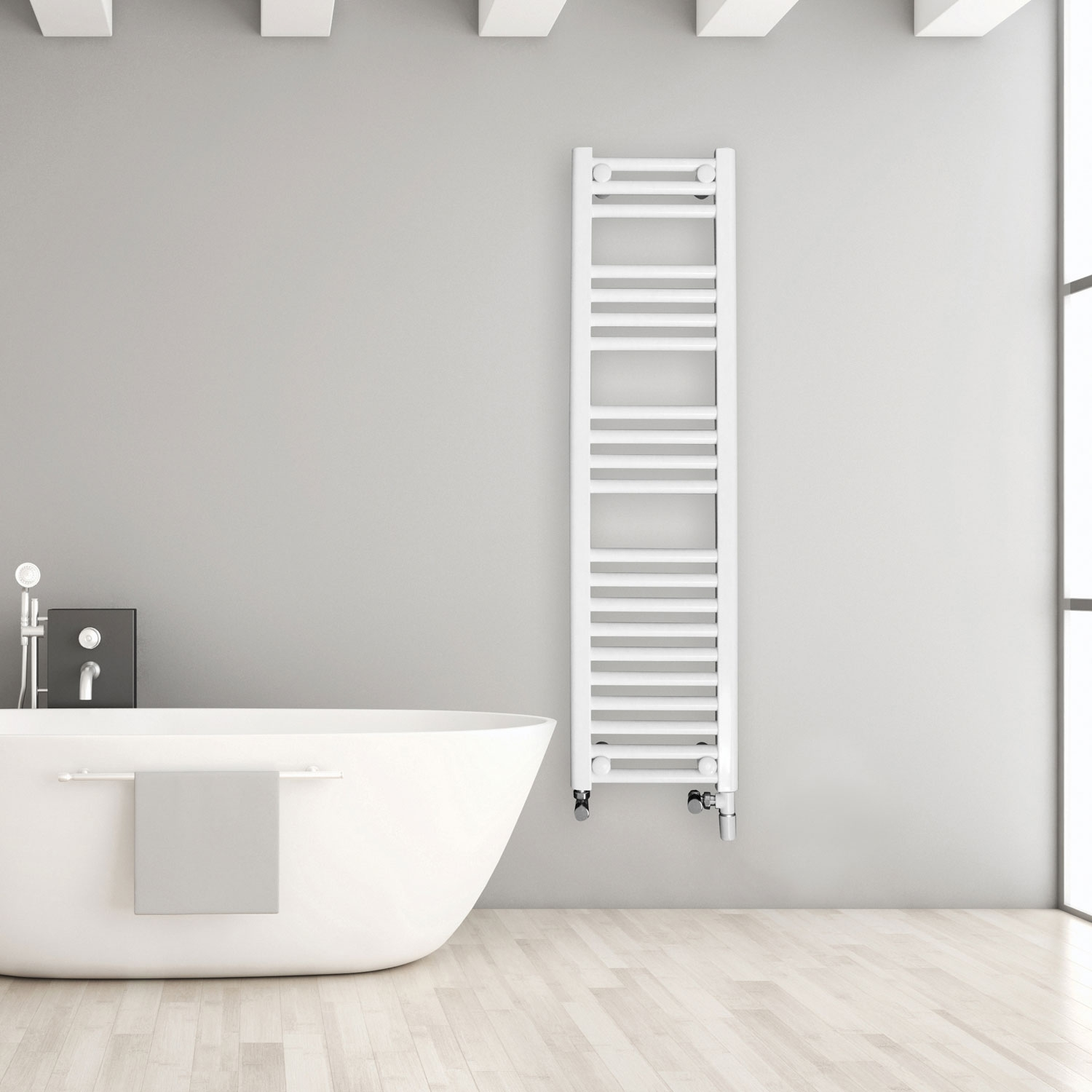 Ultraheat Chelmsford Straight Heated Towel Rail 764mm H x 750mm W - White