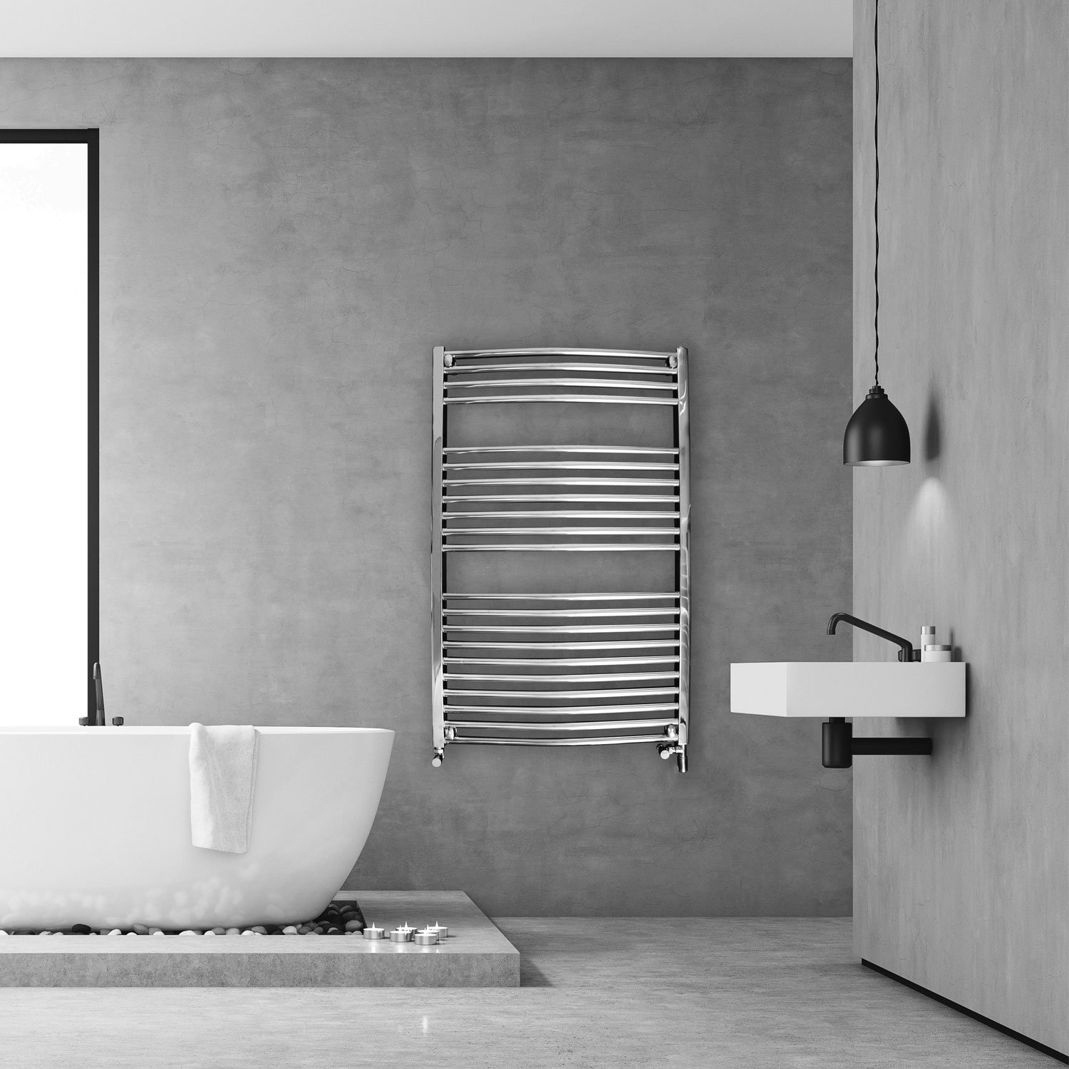 Ultraheat Chelmsford Curved Heated Towel Rail 1200mm H x 420mm W - White