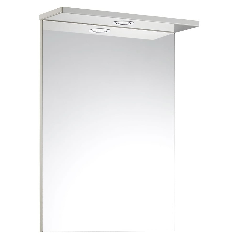 Verona Aquachic Single Bathroom Mirror with Light 500mm W X 700mm H - High Gloss White