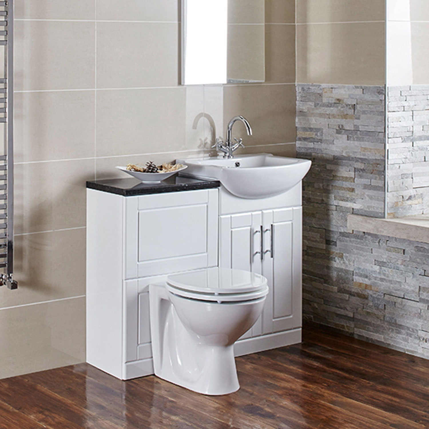 Verona Aquachic Vanity Unit with Basin 500mm Wide - High Gloss White