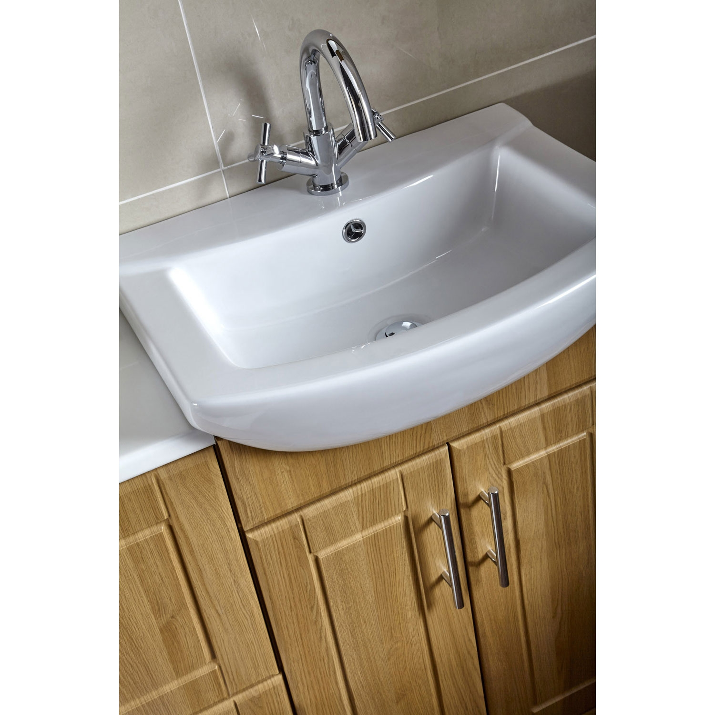 Wide Basin Bathroom Sink: Aquachic Bathroom Vanity Unit With Basin Sink 600mm Wide