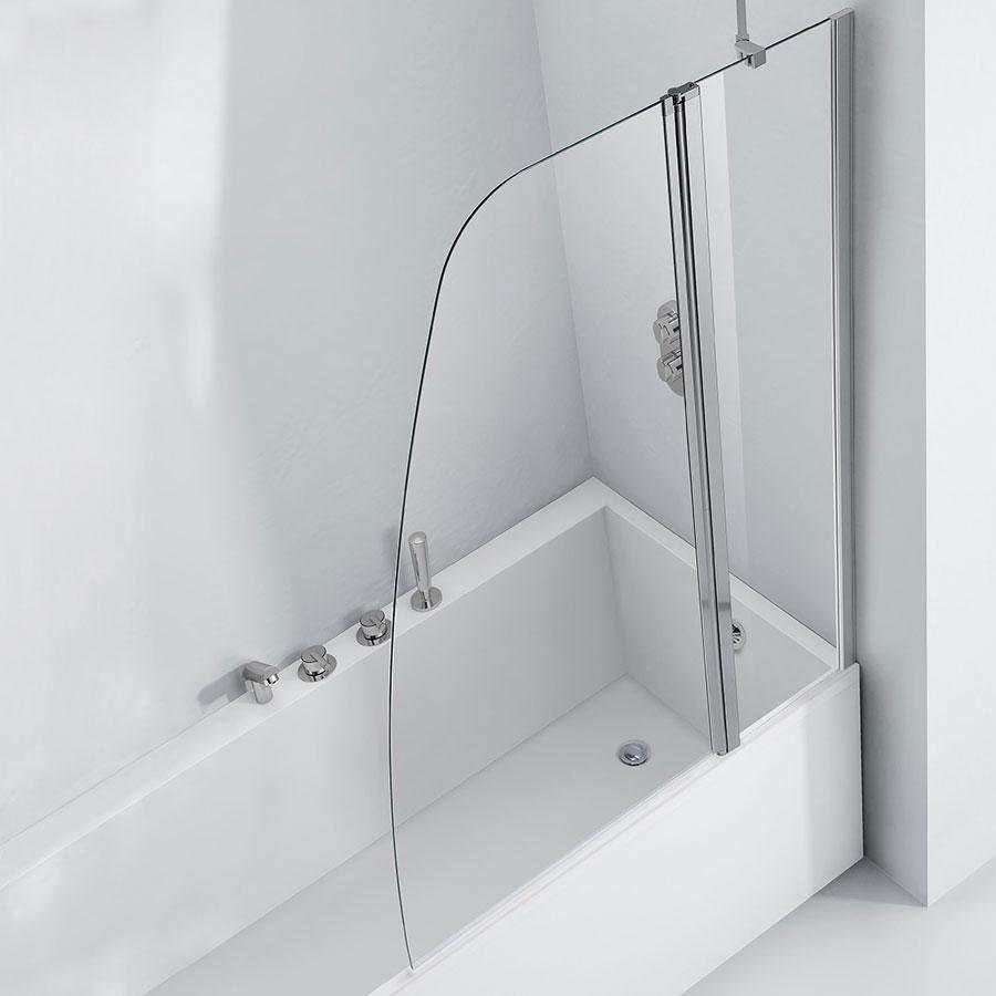 Verona Aquaglass+ Crescent Shape Bath Screen 1500mm H x 1200mm W - 6mm Glass-0