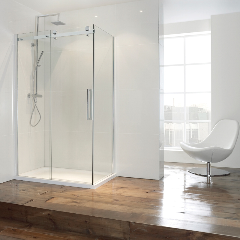 Verona Aquaglass+ Frameless Sliding Shower Door 1400mm Wide - 8mm Glass