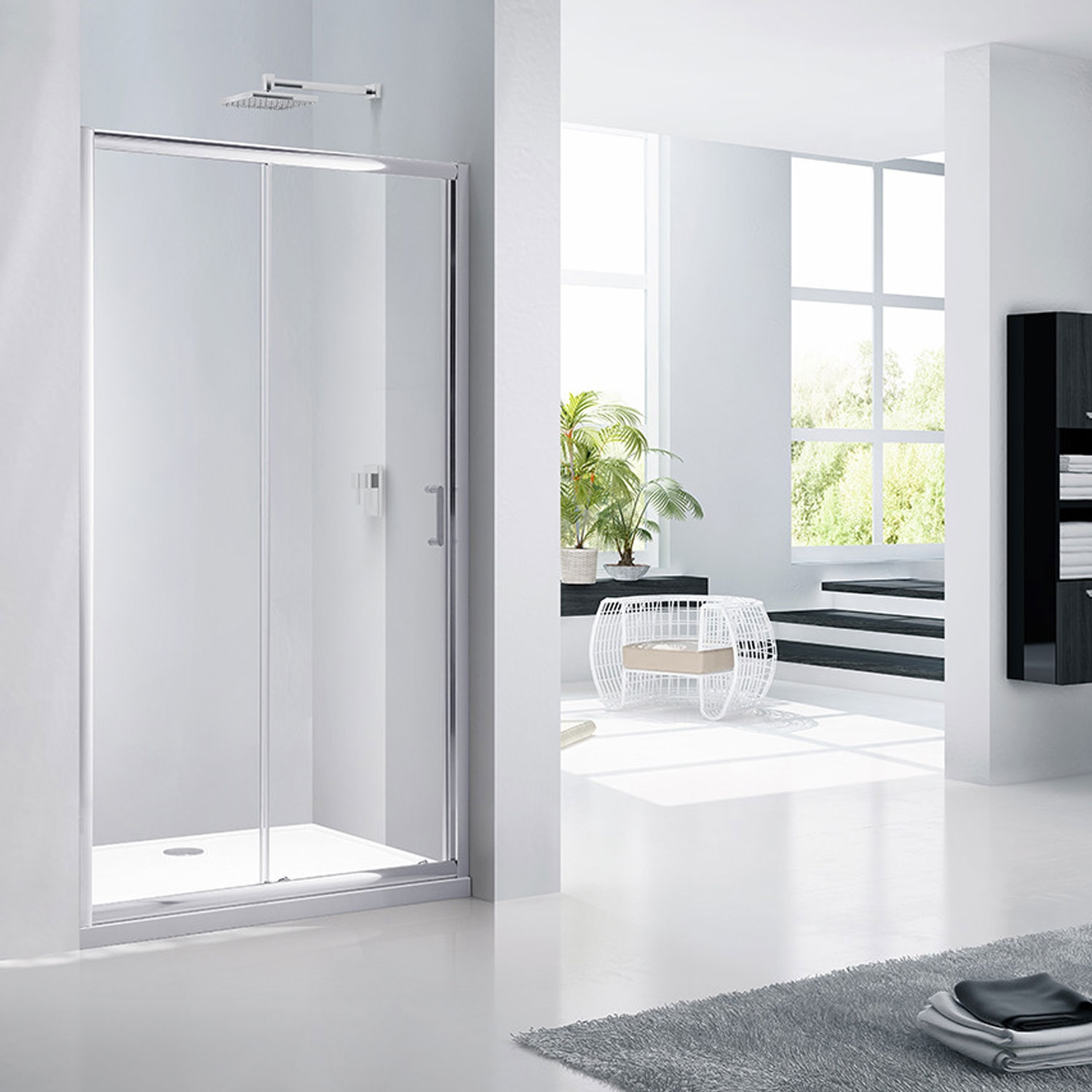 Verona Aquaglass Purity Sliding Shower Door 1100mm Wide - 6mm Glass-0
