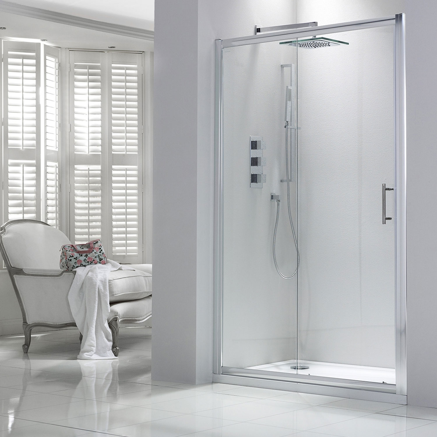 Verona Aquaglass Purity Sliding Shower Door 1100mm Wide - 6mm Glass-1