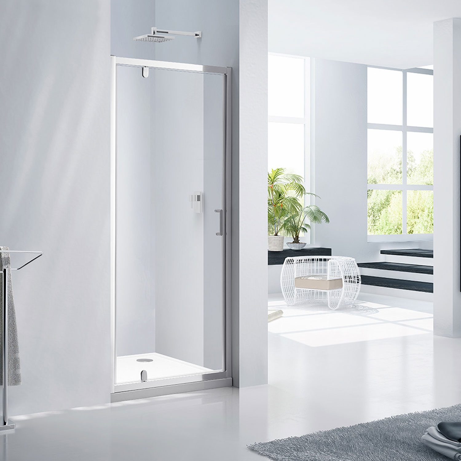 Verona Aquaglass Purity Pivot Shower Door 900mm Wide - 6mm Glass