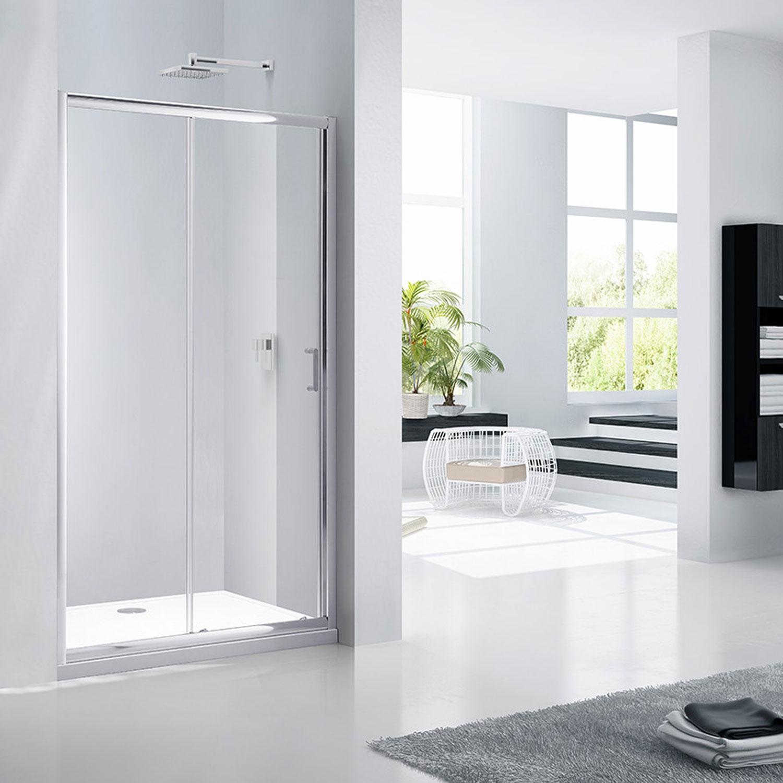 Verona Aquaglass Purity Sliding Shower Door 1400mm Wide - 6mm Glass