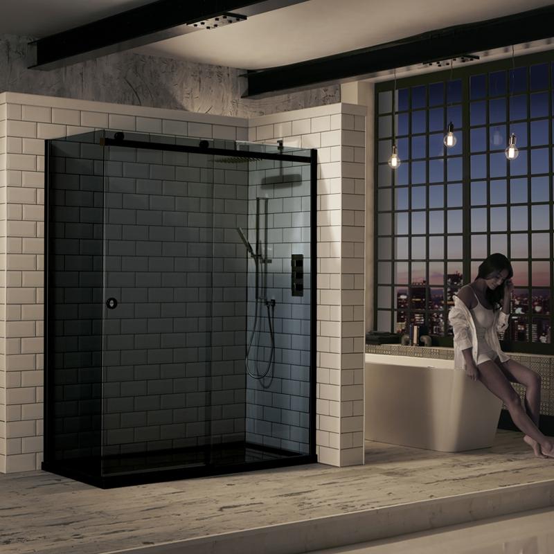 Verona Aquaglass+ Sphere Tinted Sliding Shower Door 1200mm Wide - 8mm Glass