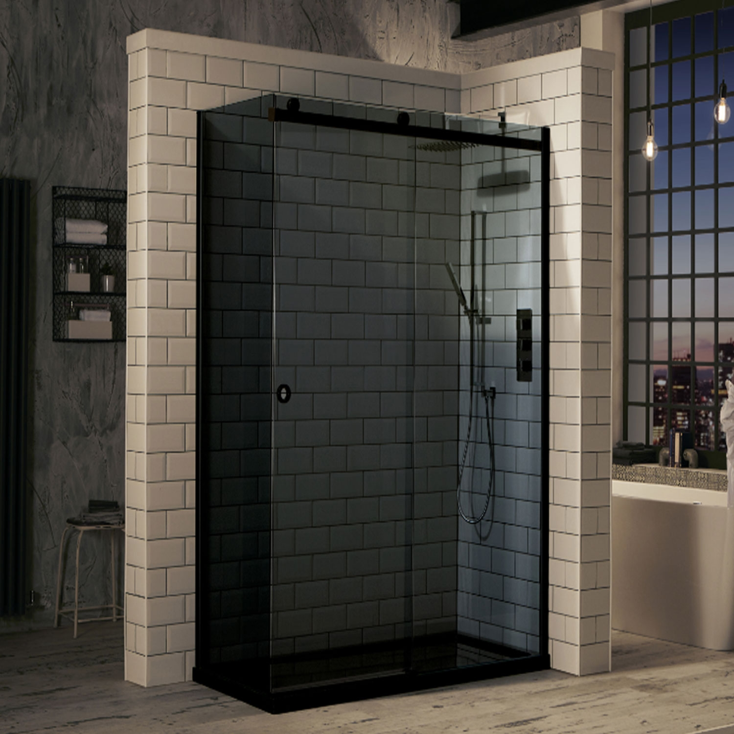Verona Aquaglass+ Sphere Tinted Sliding Shower Door 1400mm Wide - 8mm Glass