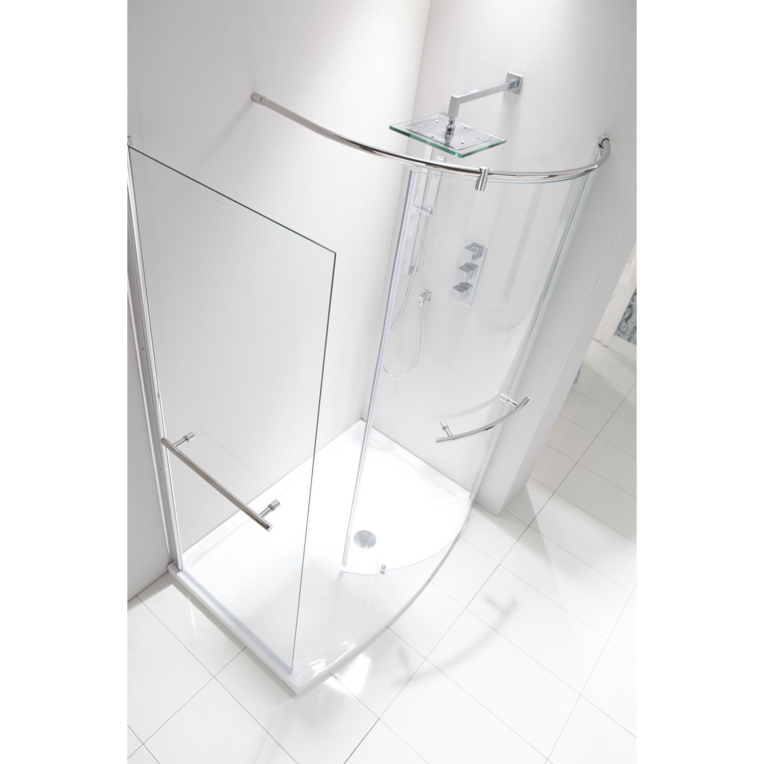 Verona Aquaglass Purity Closing Walk-In Shower Enclosure 1350mm x 900mm - 6mm Glass-2
