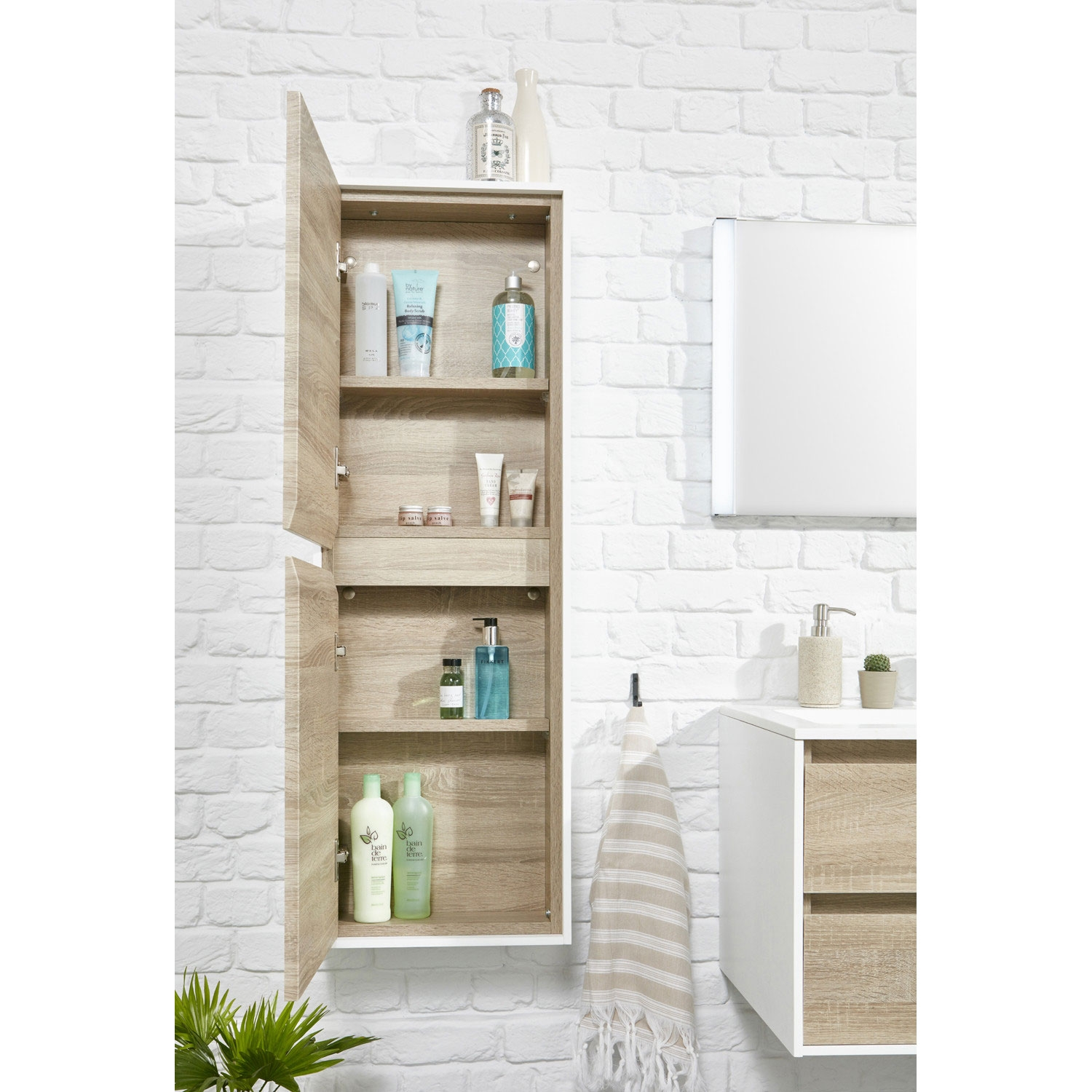 Verona Aquanatural Tall Unit with Solid Surface Panels 1200mm High - Gloss/Wood Effect