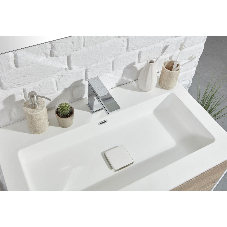Verona Aquanatural Wall Hung Vanity Unit with Basin 750mm Wide - Gloss/Wood Effect