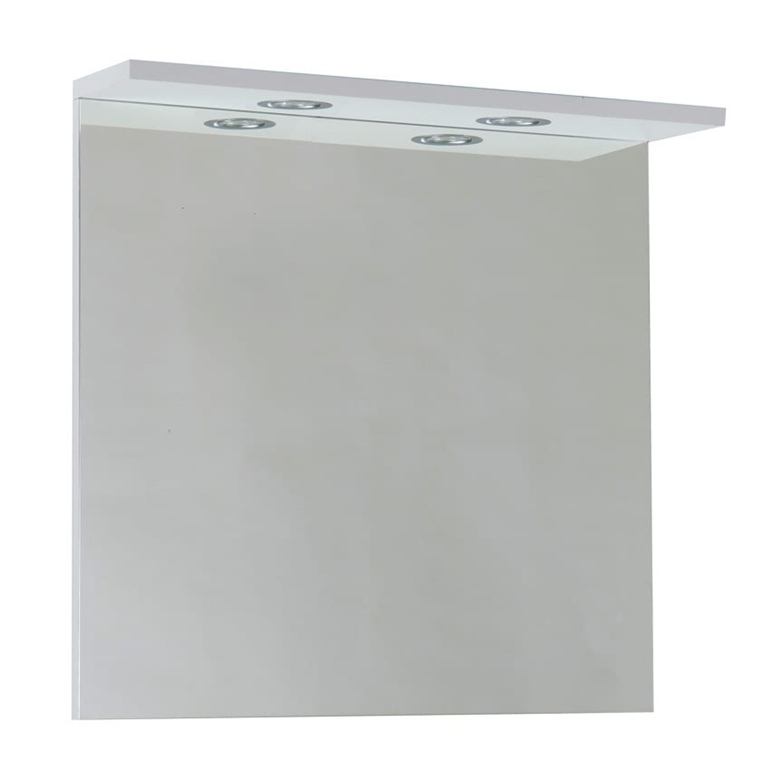 Verona Aquapure 2 Bathroom Mirror with Canopy Light 600mm Wide - Gloss White