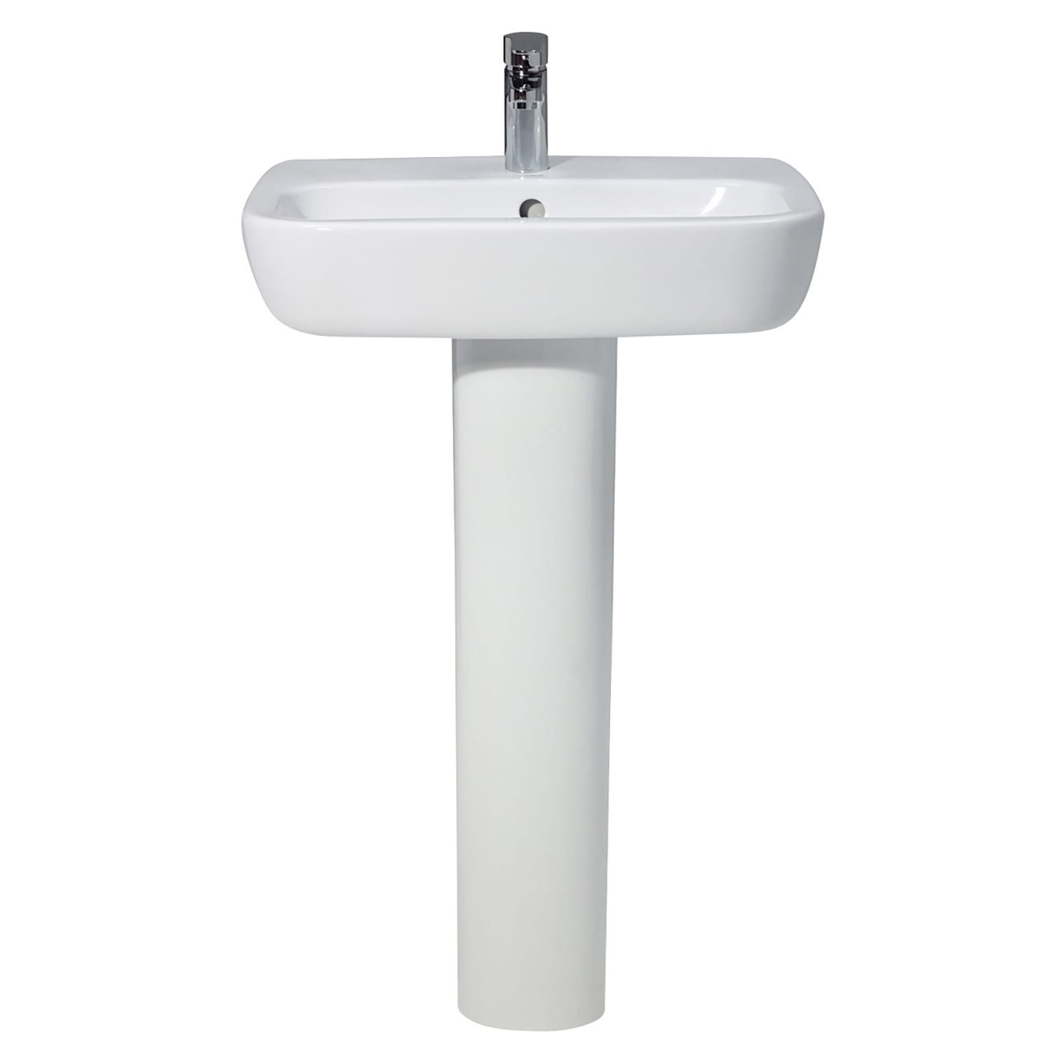 Verona Ballini Contemporary Basin with Full Pedestal 550mm Wide - 1 Tap Hole