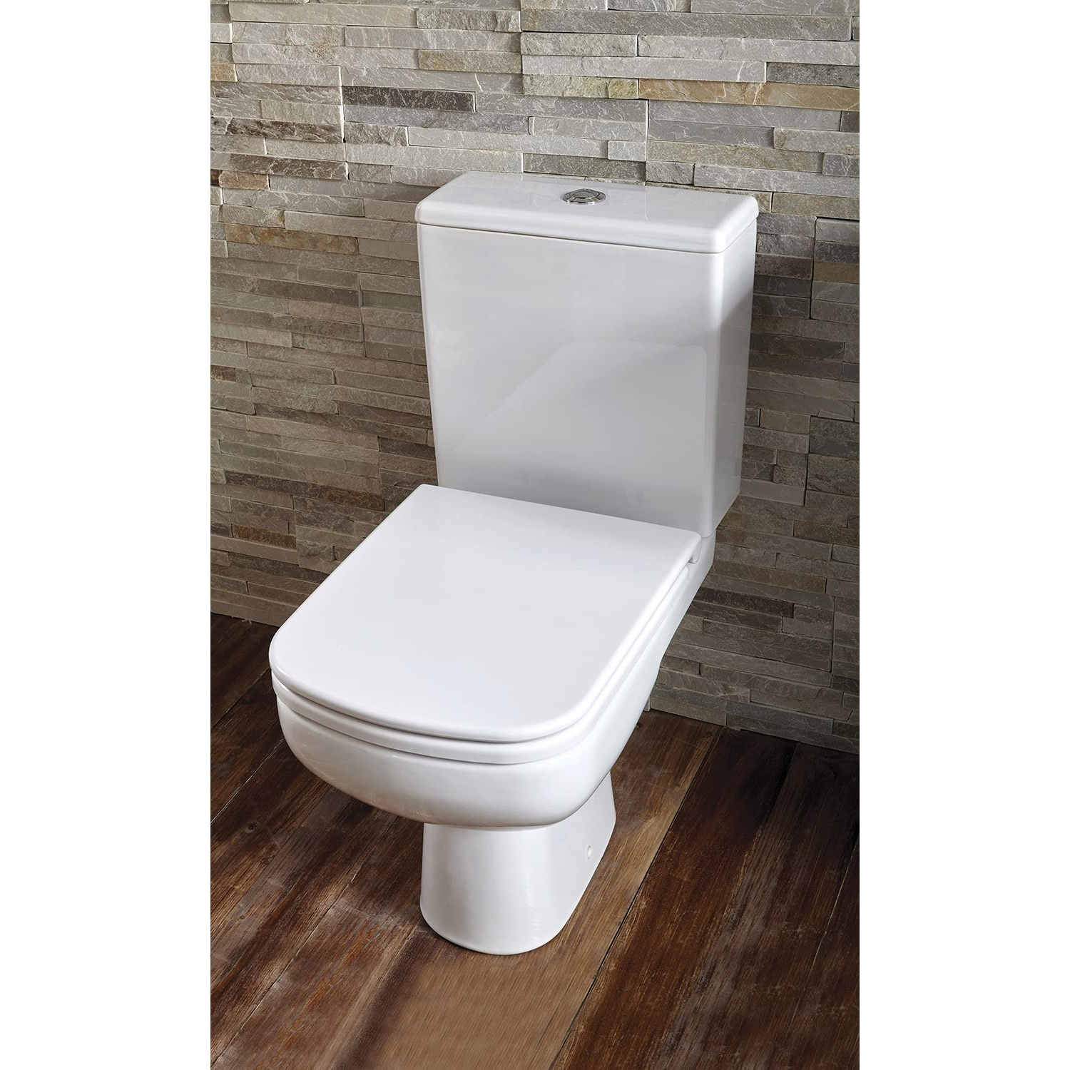 Verona Ballini Close Coupled Toilet WC Push Button Cistern - Soft Close Seat