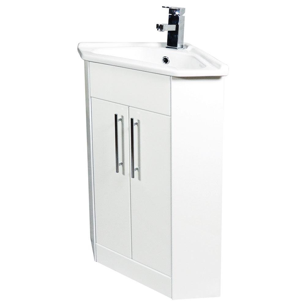 Verona Bianco Corner Vanity Unit and Basin 400mm Wide White 1 Tap Hole-0