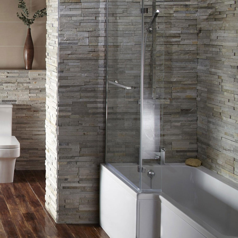 Verona Blok L-Shaped Shower Bath 1700mm x 700mm/850mm - Left Handed-1