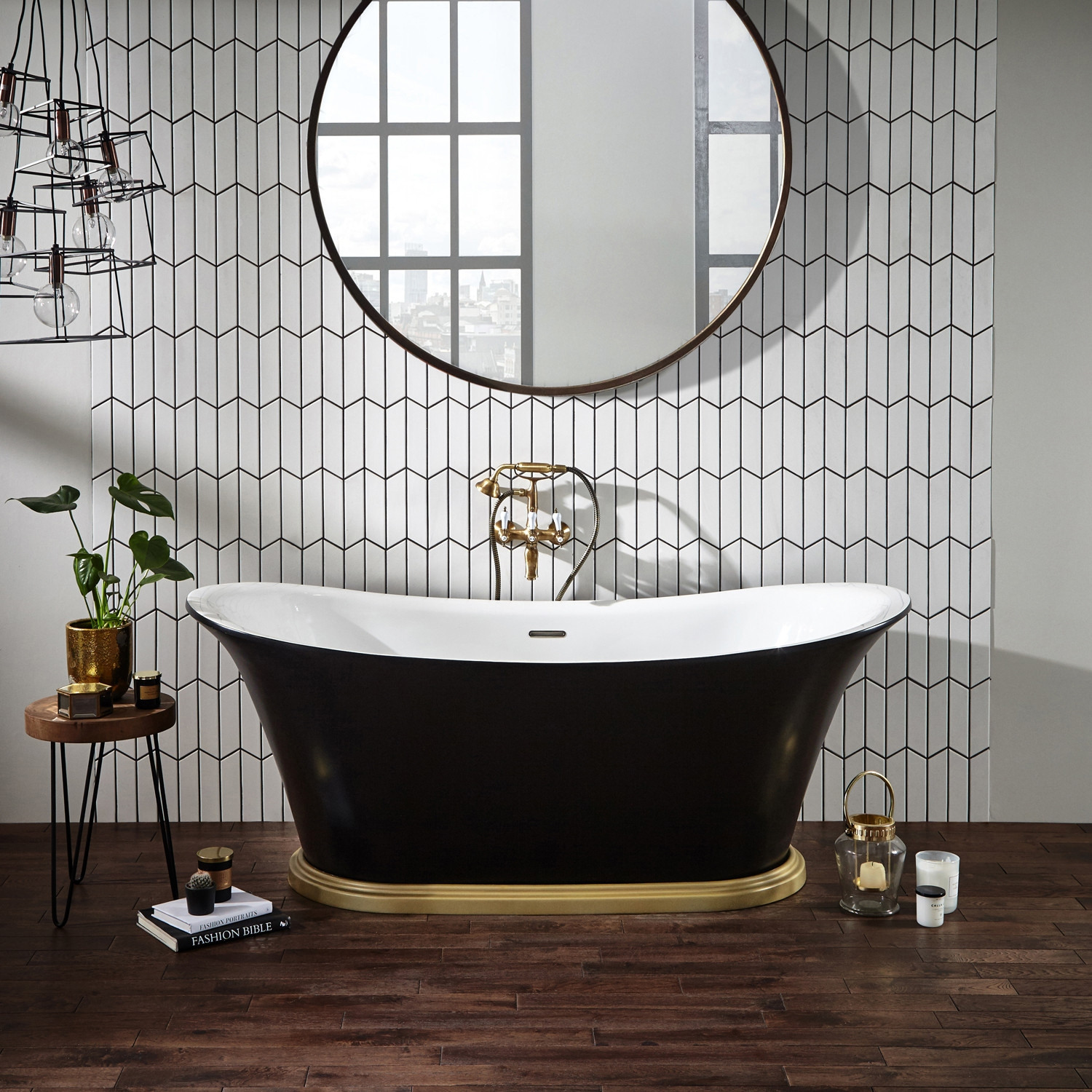 Verona Bow Graphite Traditional Freestanding Bath 1800mm x 800mm with integrated Waste