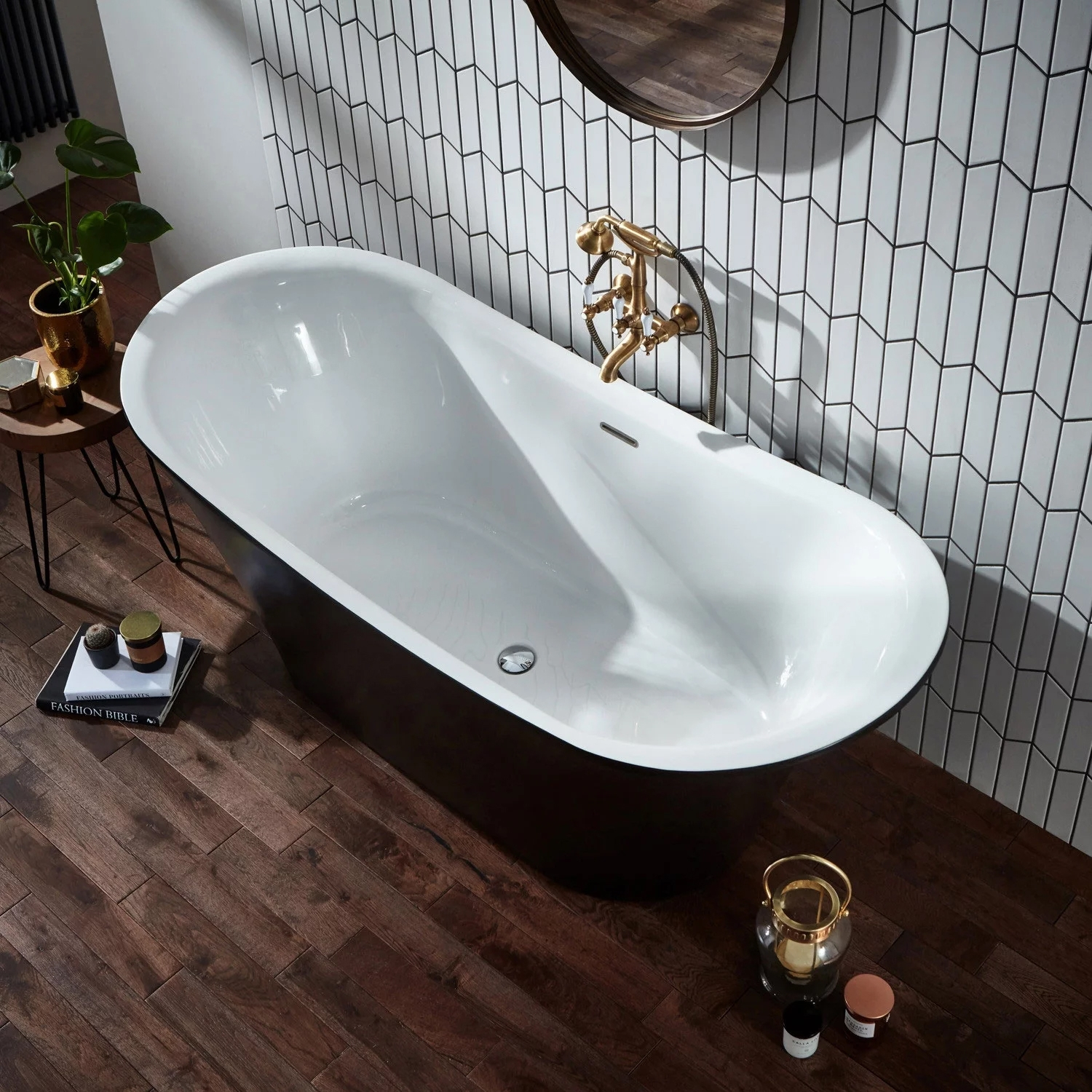 Verona Bow Graphite Traditional Freestanding Bath 1800mm x 800mm integrated Waste and Black Plinth