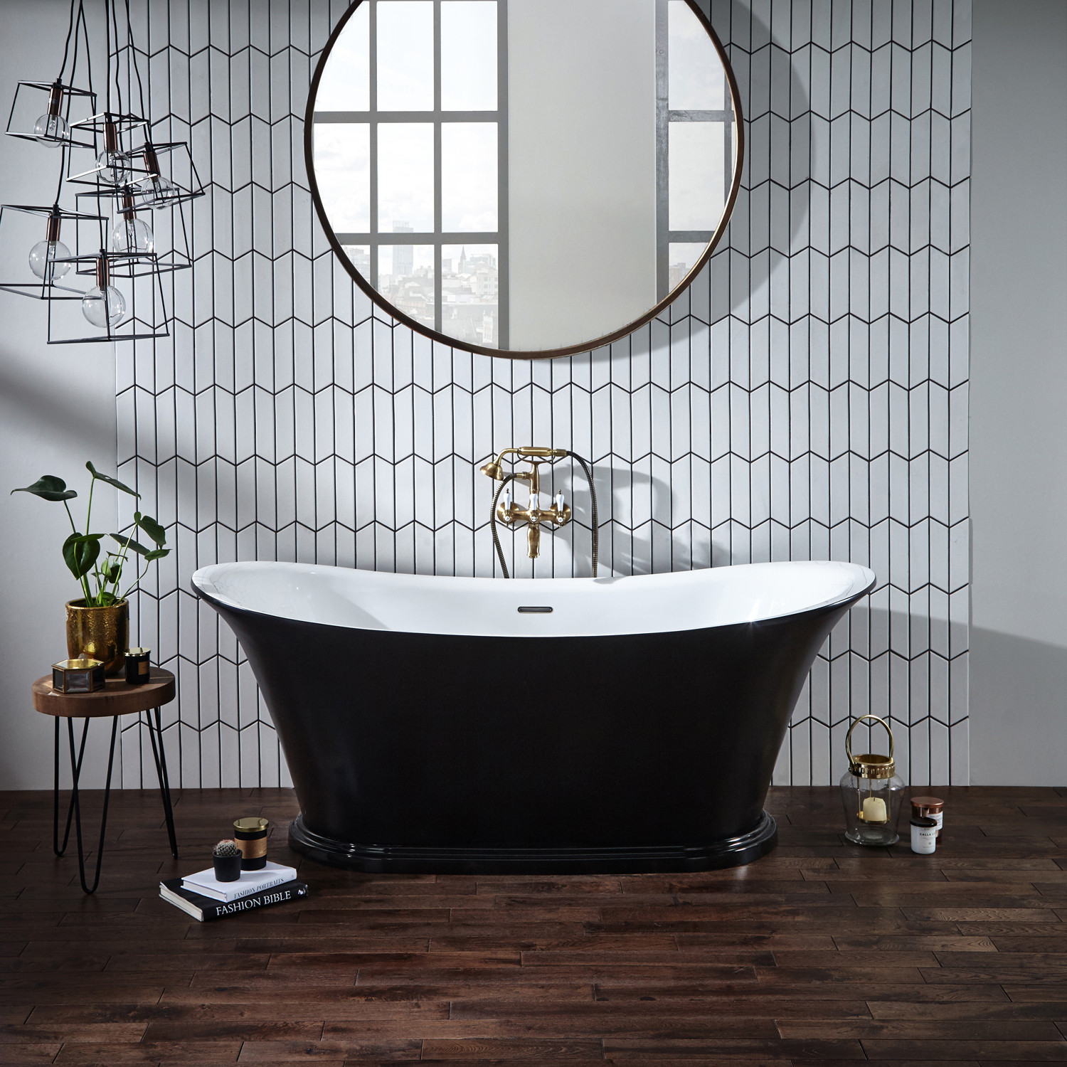 Verona Bow Graphite Traditional Freestanding Bath 1800mm x 800mm integrated Waste and Black Plinth-1