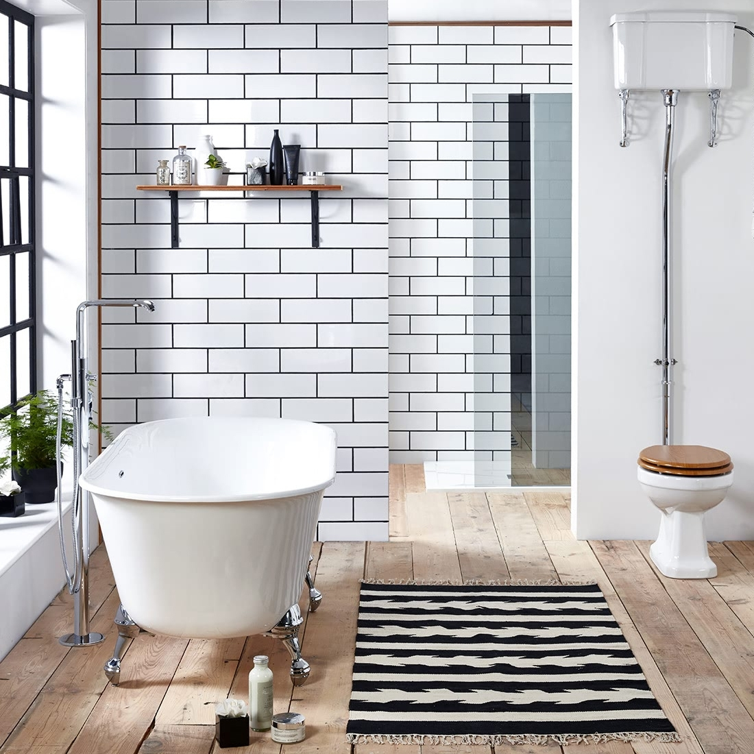 Verona Bramhope Freestanding Double Ended Bath with Chrome Ball Feet 1600mm x 750mm - White