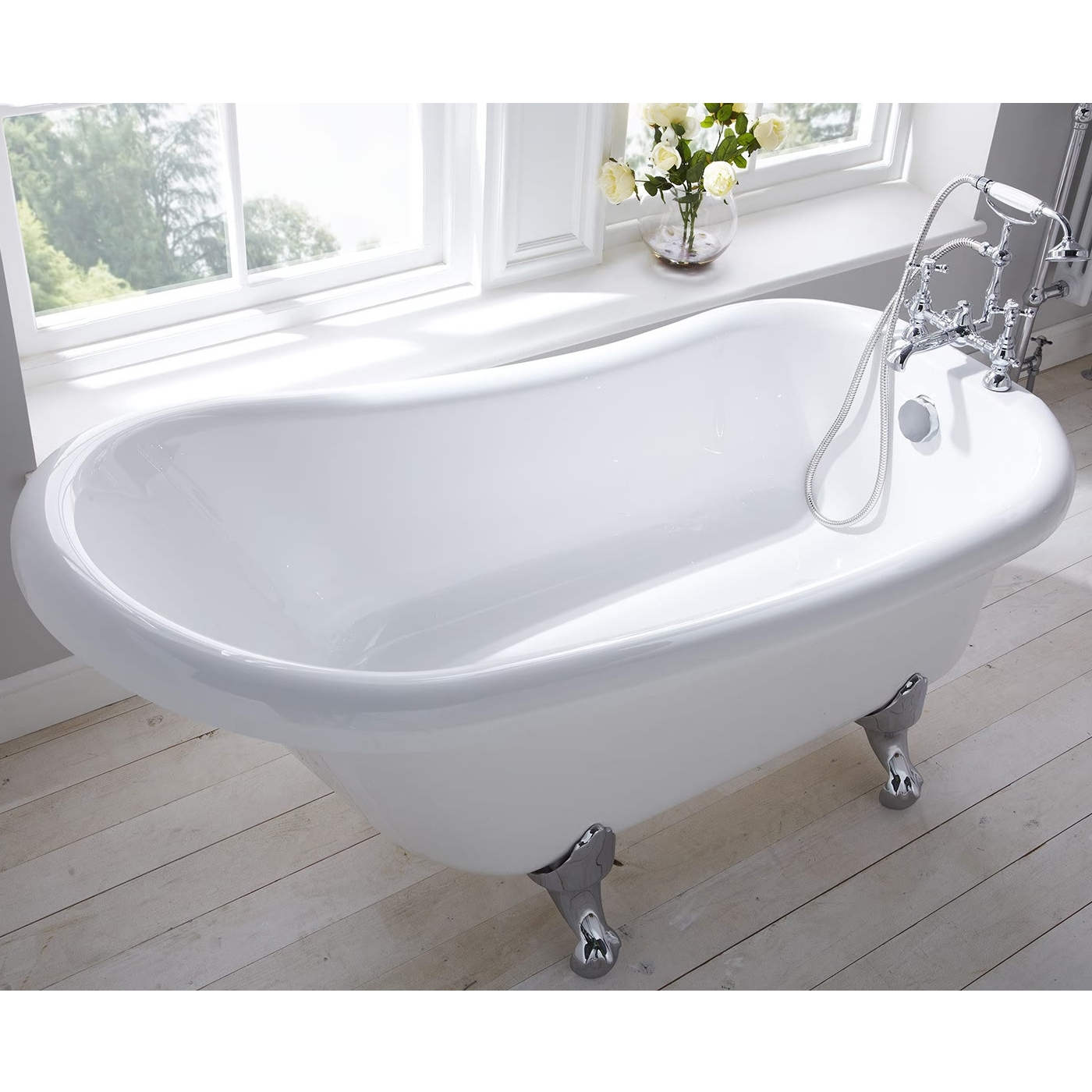 Verona Camden Freestanding Roll Top Slipper Bath 1500mm x 750mm - Excluding Feet