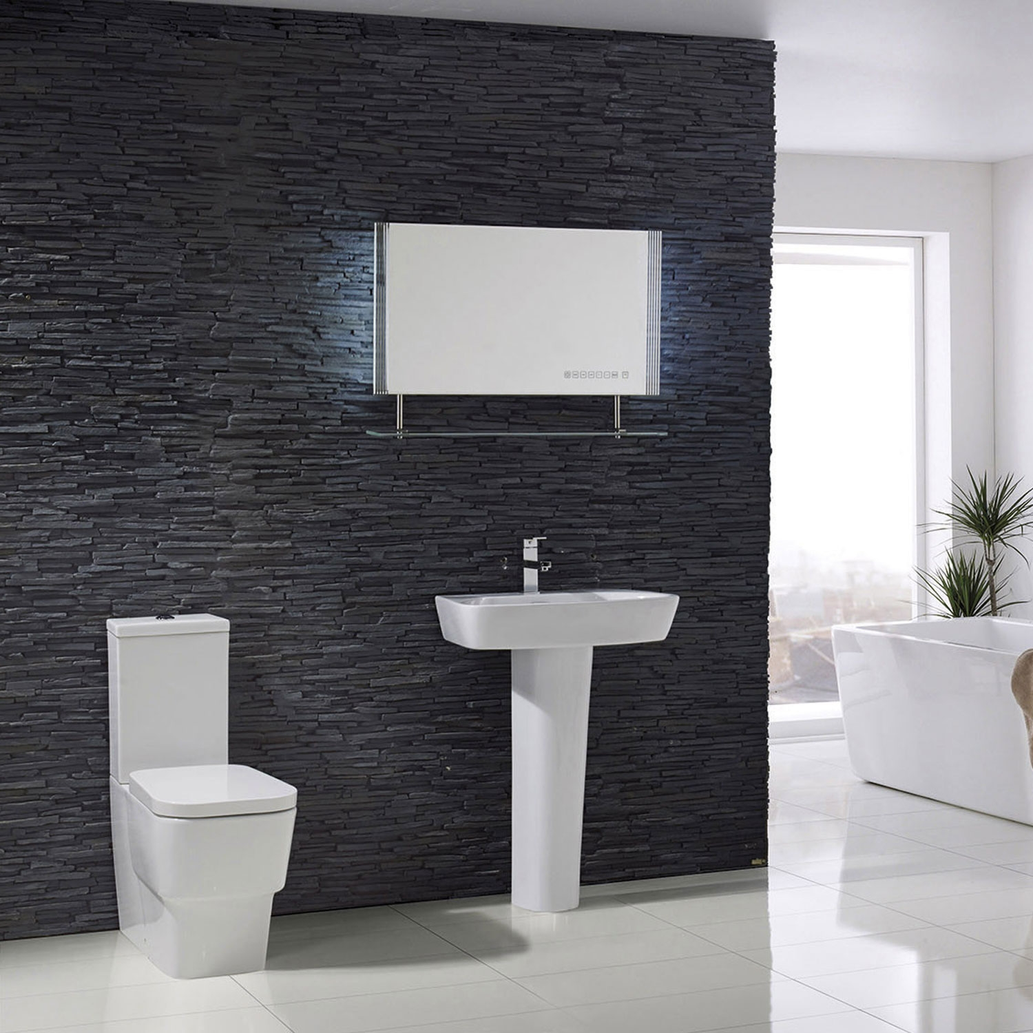 Verona Cubix Flush to Wall Close Coupled Toilet with Push Button Cistern - Soft Close Seat