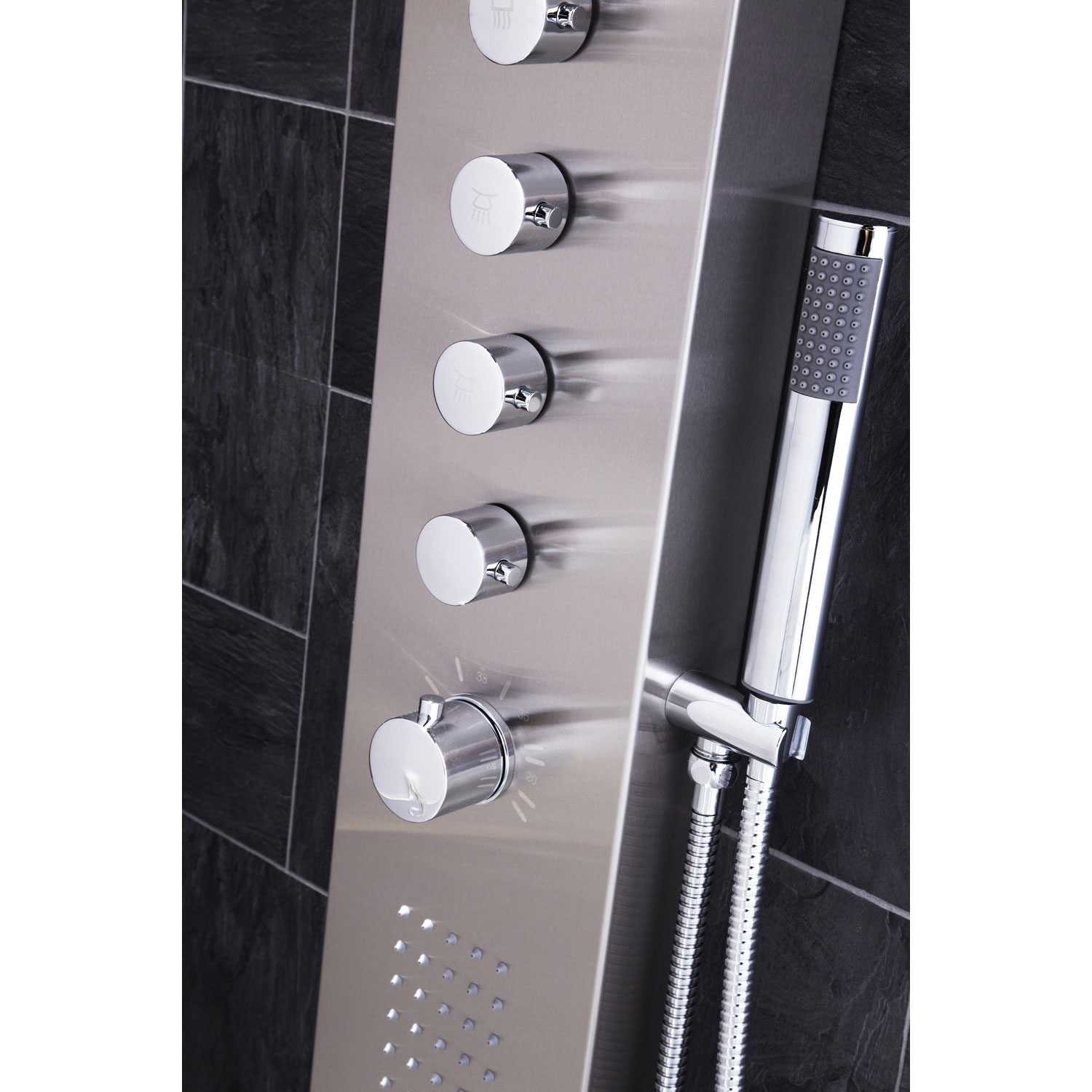 Verona Dharma Thermostatic Shower Panel 2 Built-in Body Jets with Shower Hand