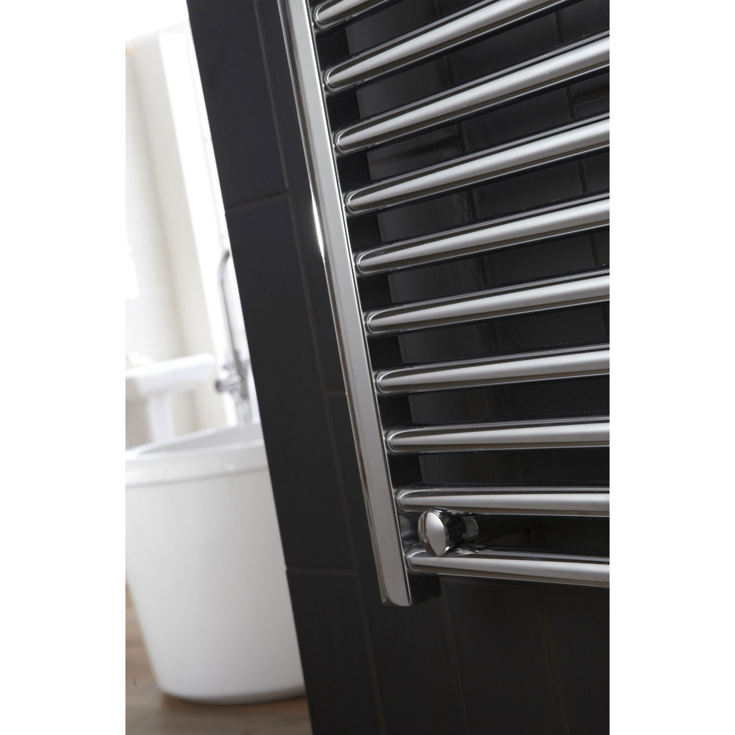 Verona Flat Designer Heated Towel Rail 1100mm H x 450mm W Chrome-2