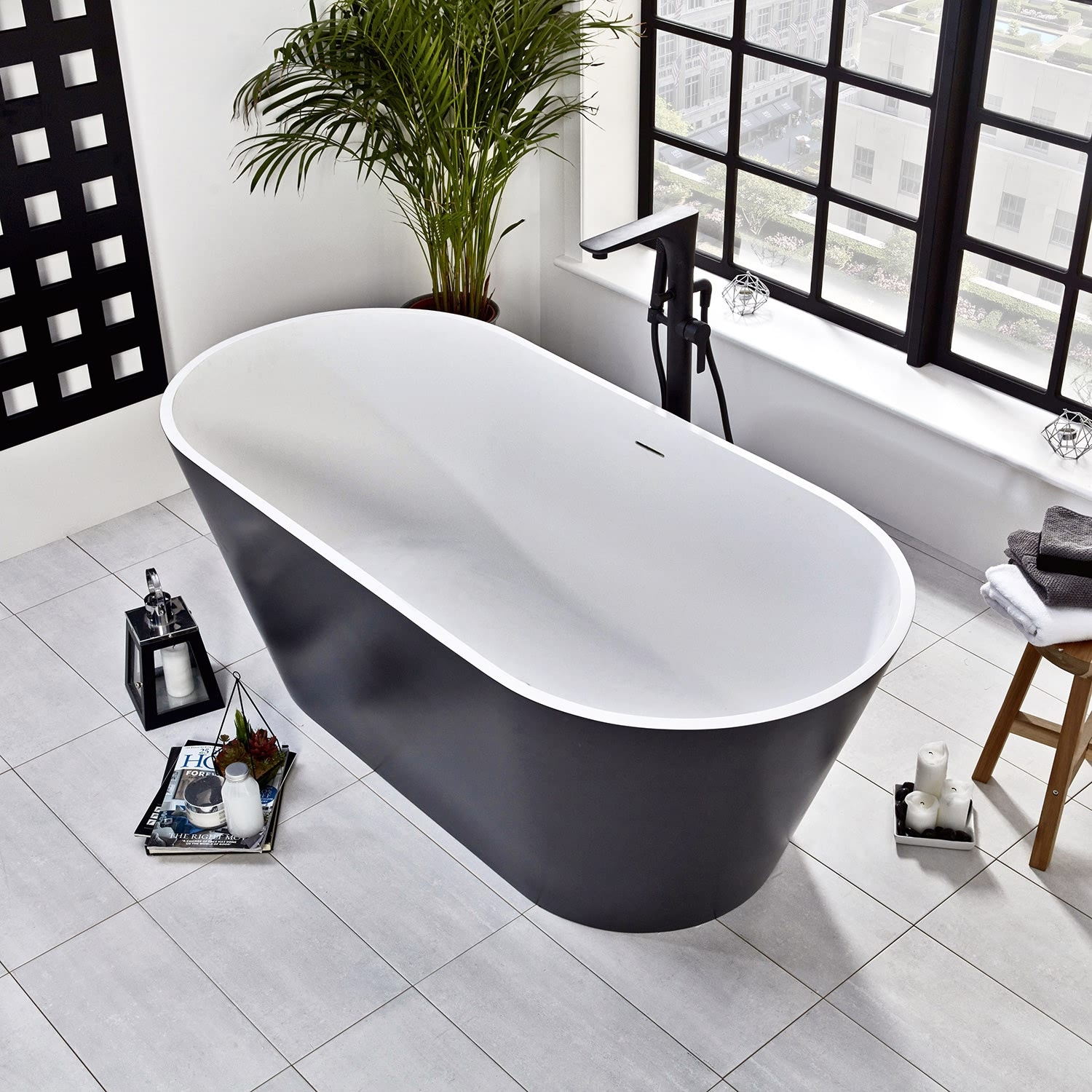 Verona Graphite Stone Freestanding Double Ended Bath 1700mm x 800mm - Black Outer-0