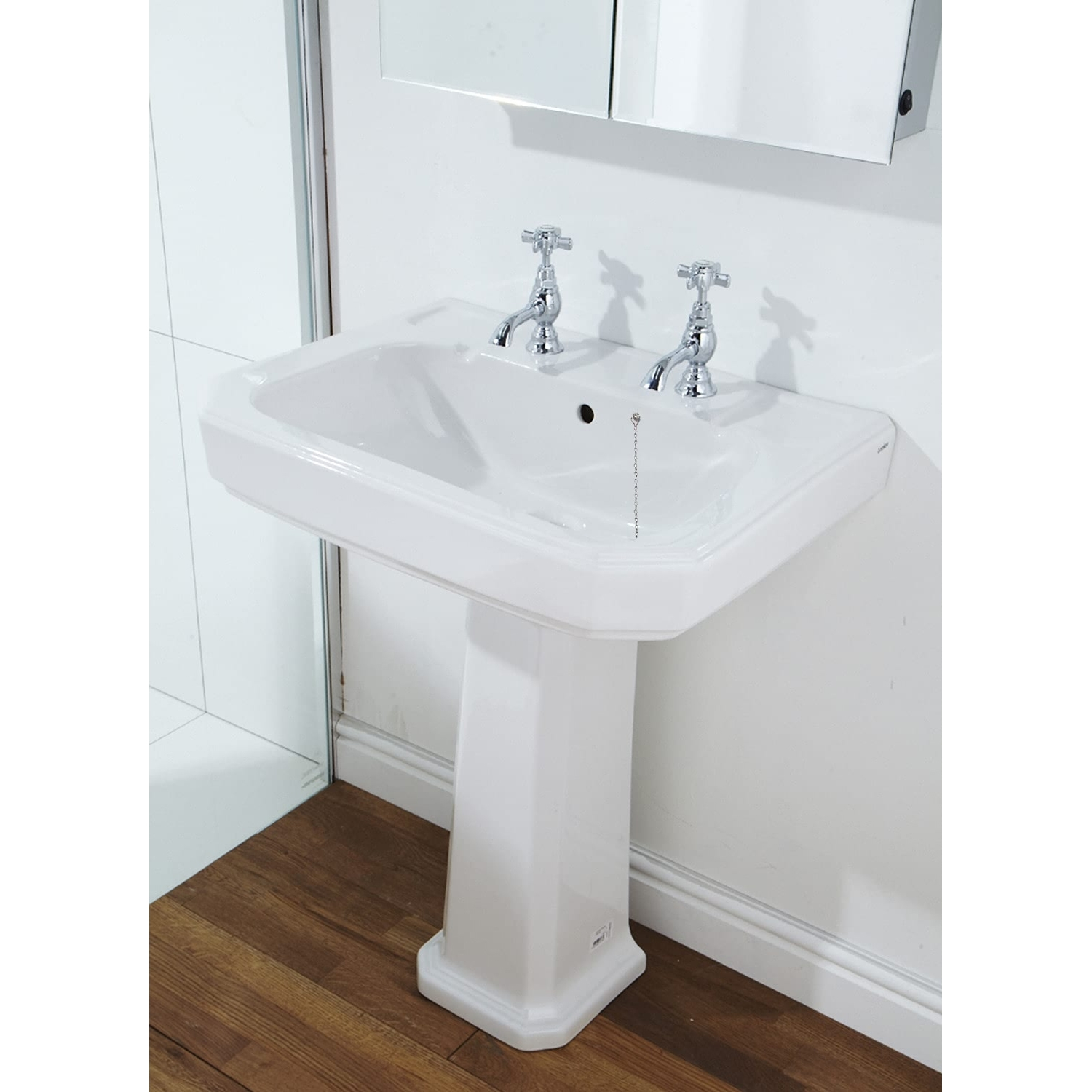 Verona Hamilton Basin with Full Pedestal 630mm Wide - 2 Tap Hole